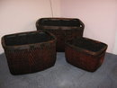 Baskets Wicker- squared- set of 3
