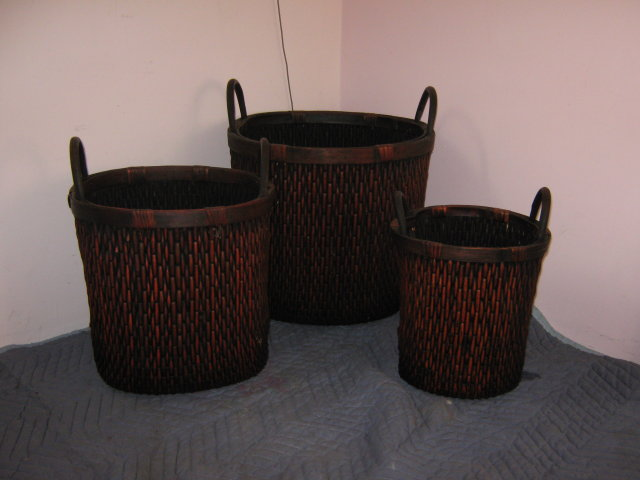 Baskets, Wicker, set of 3 round, tall