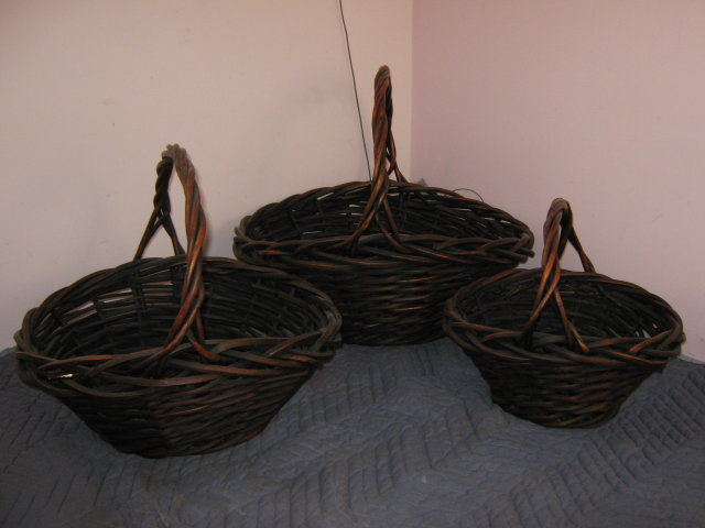 Baskets, Set of 3, Round, Wicker