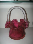 Blown Cranberry Glass Basket