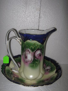 Porcelain Painted Pitcher and Bowl