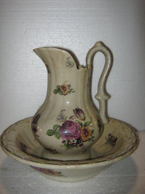 Rose Pattern Pitcher and vase