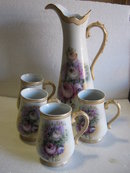 Porcelain Floral Pattern Lemonade/Water Set