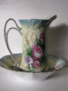 Floral Pitcher and Bowl