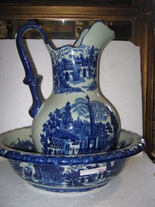 Large Flow blue Pitcher and bowl