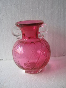 Cranberry Vase with clear handles