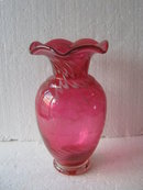 Cranberry vase- Swirled Glass