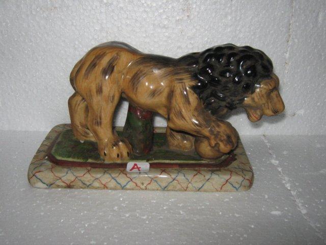 Porcelain Lion Figure- Staffordshire type