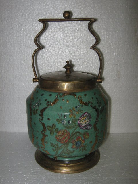 Porcelain and bronze Tabacco/ Biscuit Jar with gold detail
