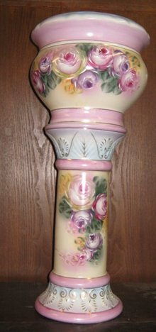 Pink & Purple Rose Jardineer Pedestal Planter Vase