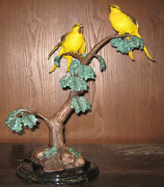 Large Yellow Birds in Tree Bronze Statue