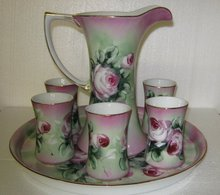 Floral Roses Pitcher and Glasses Set Handled Glasses