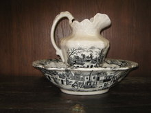 Black and WhiteTransferware Bowl and Pitcher Set