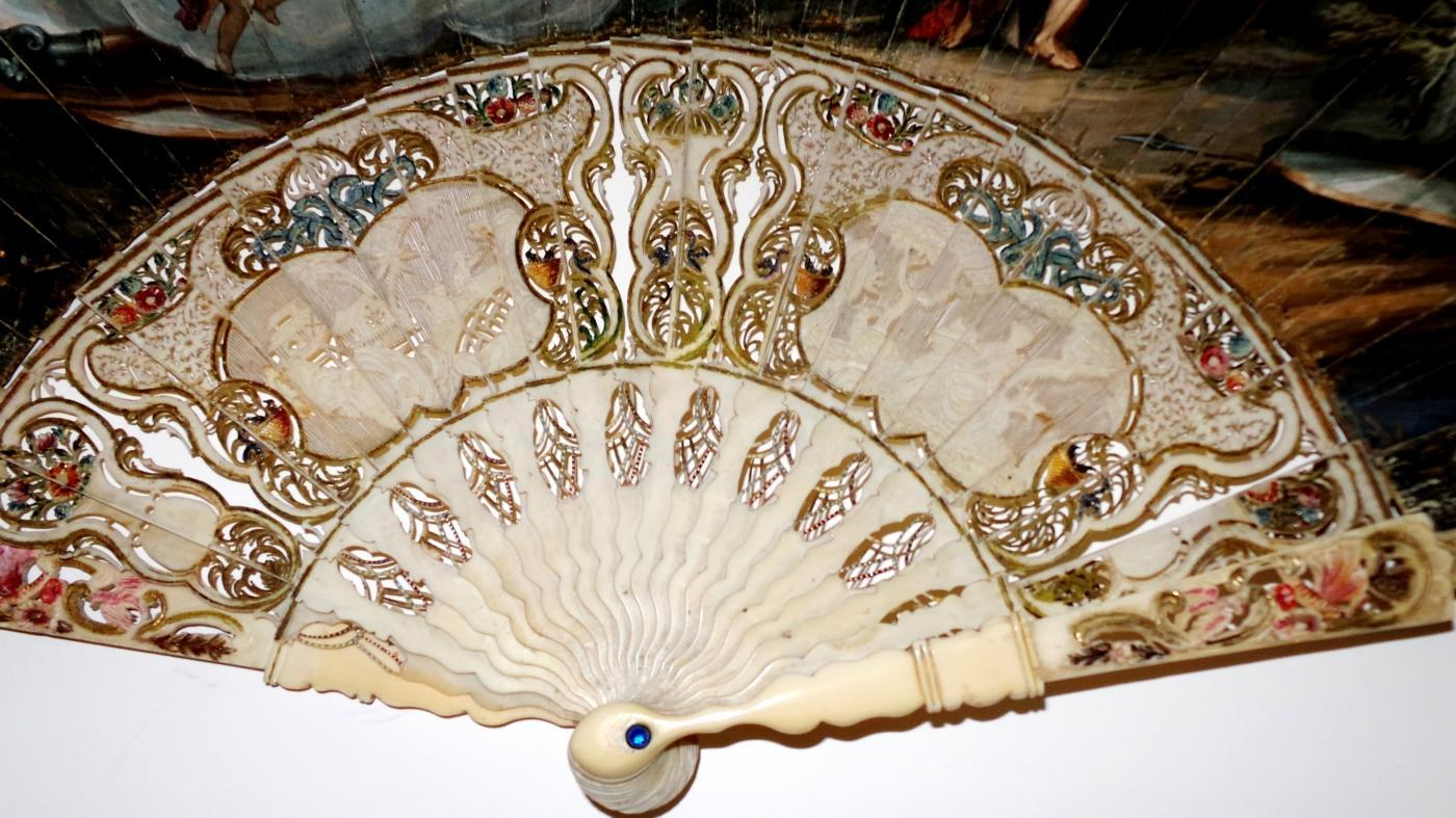 18th Cen Hand Painted Fan on Vellum with Ivory Sticks & Guard. Leather Box