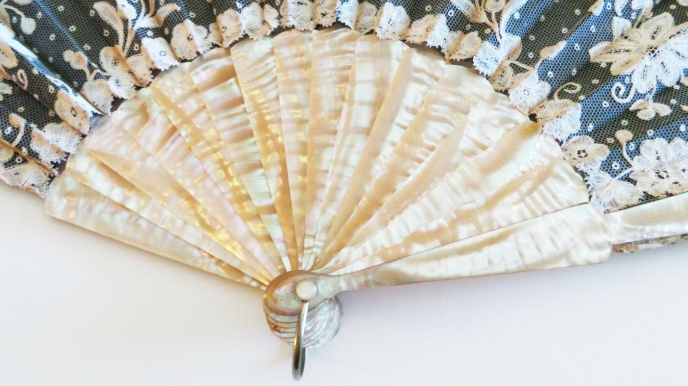 Anique Mother of Pearl & Ivory Hand Painted Fan