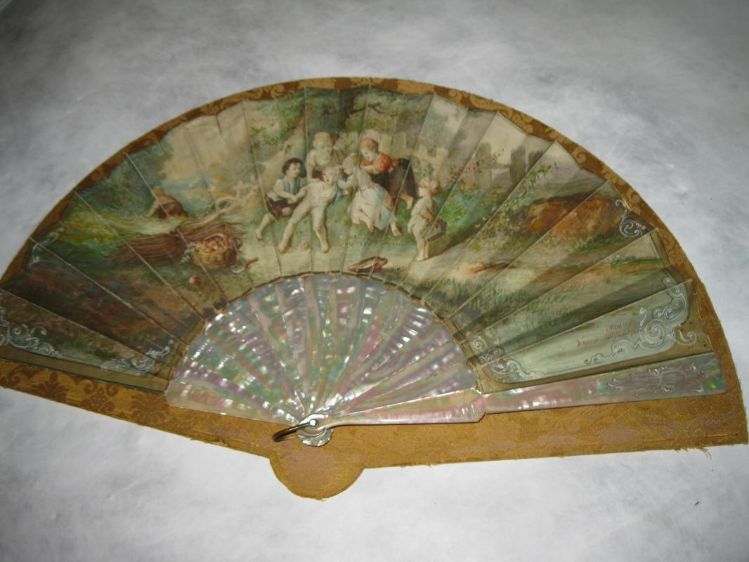 1870 Double Signed Duvelleroy Mother of Pearl Fan