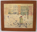 A Child Feeding Pidgons in Winter Oil Painting by Ruth Wilcox Dawes