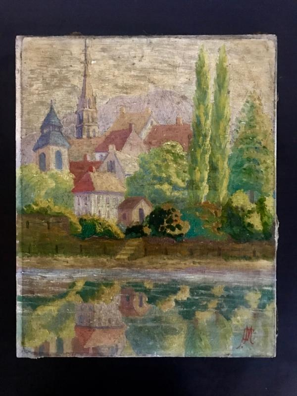 Impressionist 1920s oil painting on canvas