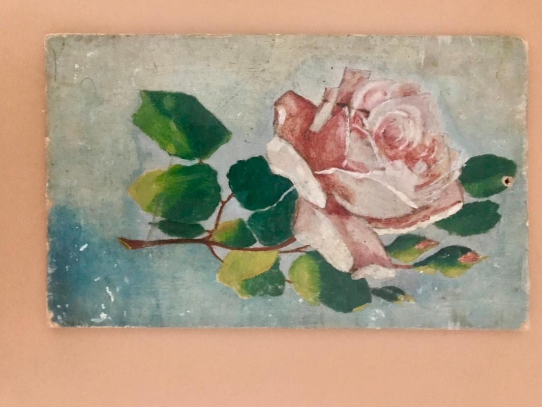 1920s French Shabby chic oil painting on panel