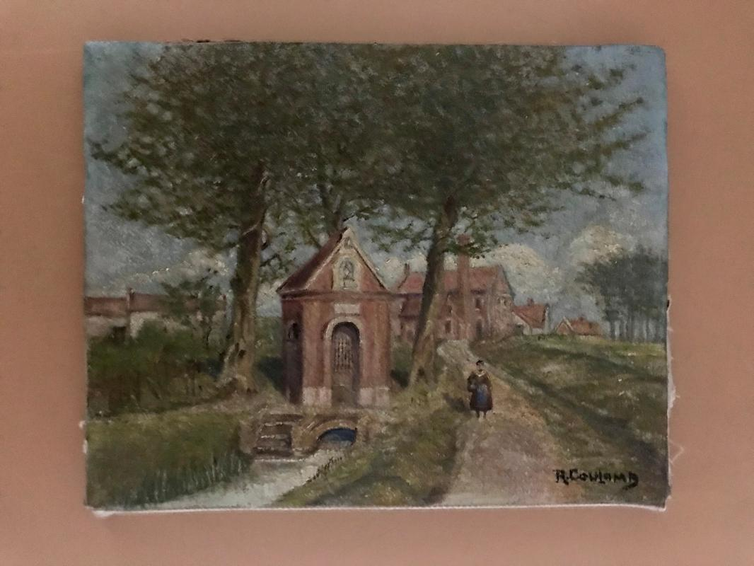 1910s naïve French oil painting on canvas