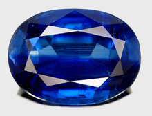4.30 CARAT  KAYANITE  GEMSTONE  Superb Cobalt  Blue Color,  set   White  Diamond Ring