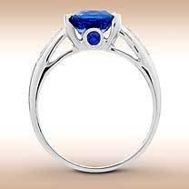 4.30 CARAT  KAYANITE  GEMSTONE  Superb Cobalt  Blue Color,  set   White  Diamond Ring