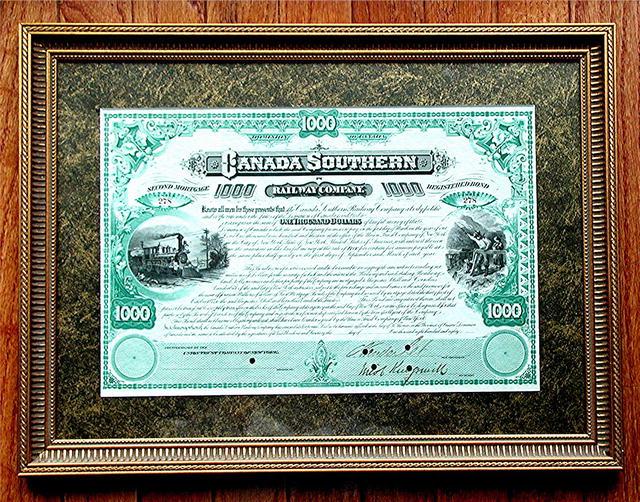 Rare .Vanderbilt - Autographed Canada Southern Rail Bond
