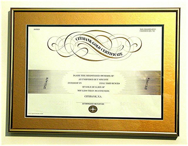 Citibank Gold Deposit Certificate * Rare Specimen