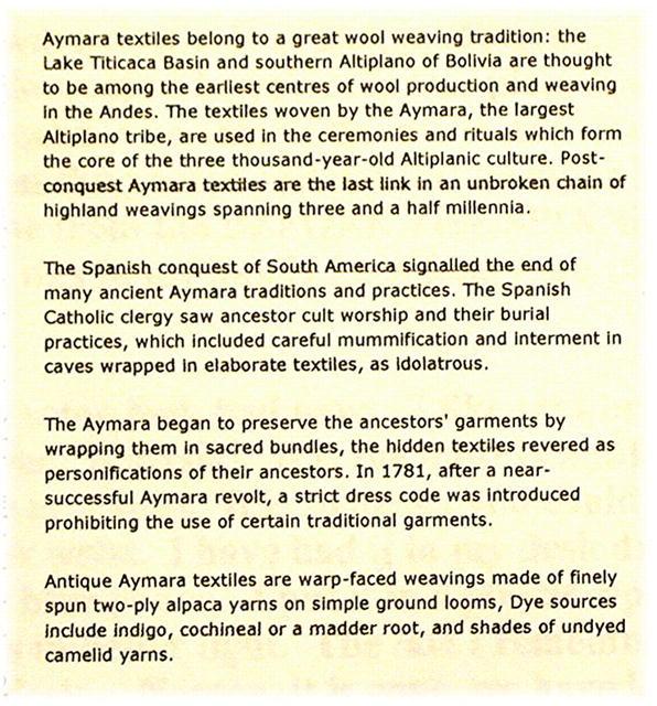 BOLIVIA.  Cerimonial Textile Mid 20th Century