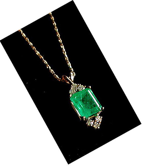 EMERALD PENDANT  2.55 Ct.  COLOMBIAN DARK. WHITE DIAMONDS  * CERTIFIED