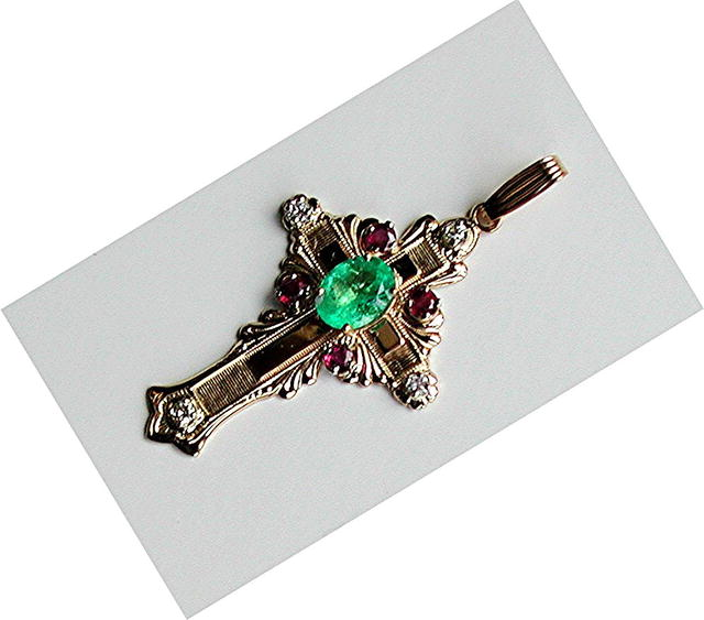EMERALD HOLLY CROSS ICON.  GOLD *   DIAMOND.