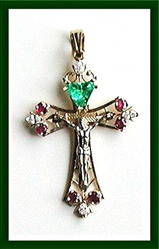 EMERALD. DIAMONDS RUBIES. Cross Pendant  14K  Icon