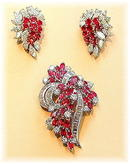 RUBY * DIAMOND BROOCH EARRING SET