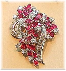 RUBY * DIAMOND BROOCH EARRING SET