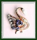 TANZANITE * Diamond JEWELED SWAN PENDANT. GOLD