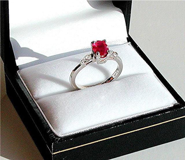 RUBY  1.25 CARAT * CERTIFIED  Burmese Ruby.  Diamond Ring