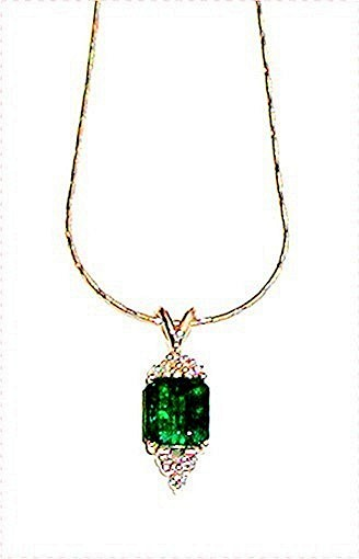 EMERALD 2.55 CARAT COLOMBIAN * DIAMOND PENDANT * CERTIFIED