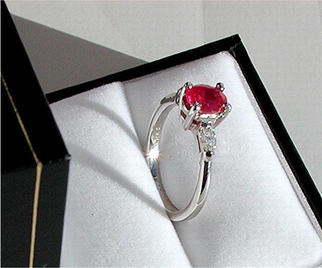 RUBY 1.25 CARAT  CERTIFIED * DIAMOND RING