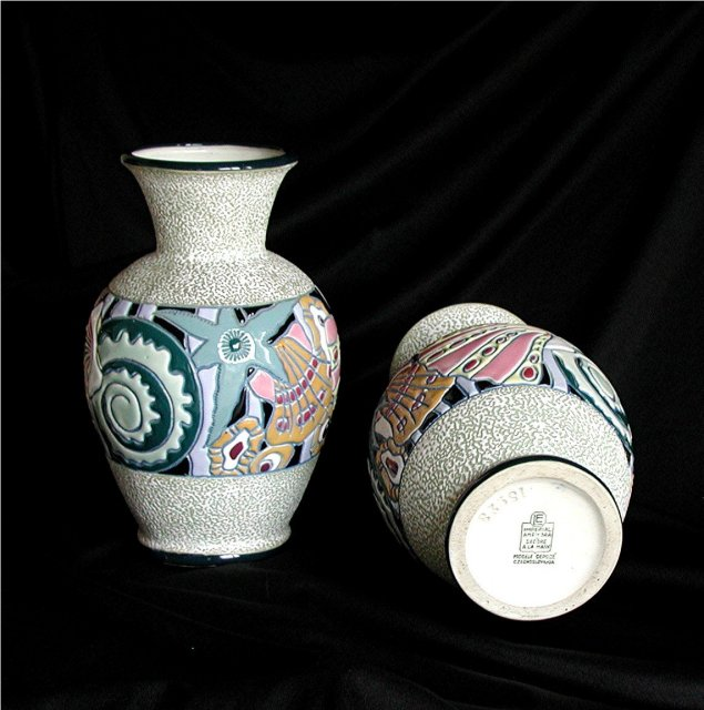 CZECH  AMPHORA  Porcelians  *  Superb Matched Original  *  $  690.