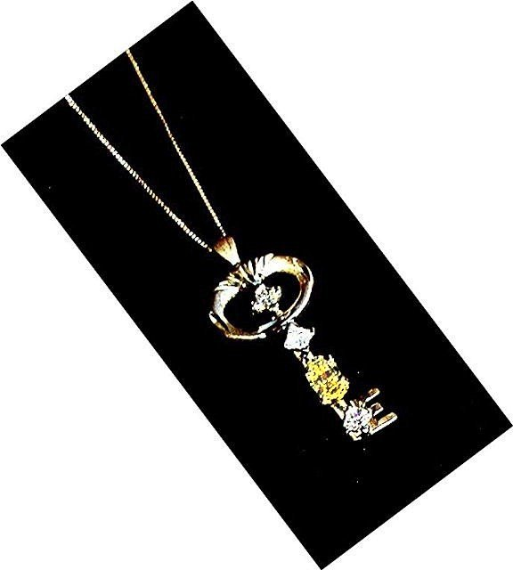 YELLOW DIAMOND  *  Key Pendant  Necklace
