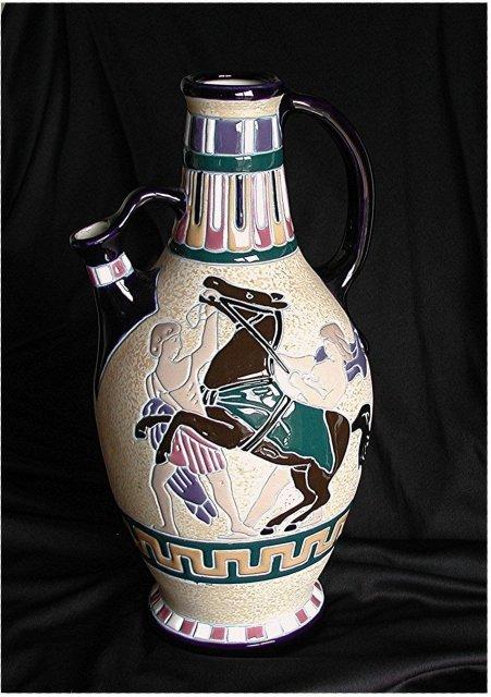 CZECH  AMPHORA, ARTISAN SERIES  Crete  Rearing Horse Amphora  *  $ 800.