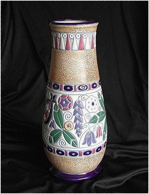 CZECH  AMPHORA.  Perched Birds Tall Vase  *  $ 490.