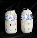 CZECH  AMPHORA  Matched Pair Floral Vases
