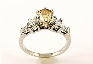 STUNNING !  1.80 CARATS FANCY  YELLOW COLOR  PEAR CUT & White Diamond Ring   14k White Gold