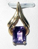 AMETHYST GEMSTONE  Gold Pendant  with  Necklace , Boxed Set