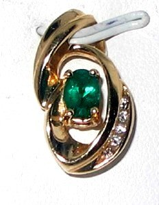 EMERALD & DIAMOND   14k  Solid Yellow  Gold Pendant with Necklace