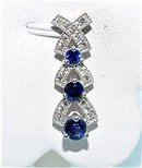 ROYAL BLUE SAPPHIRE & DIAMOND PENDANT SET  * 1.15 Carats, 14k   White Gold with Necklace