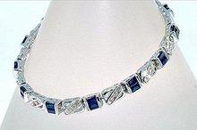 3 CARAT BLUE SAPPHIRE & DIAMOND BRACELET  14k Solid White Gold