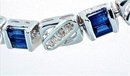 3 CARAT BLUE SAPPHIRE & DIAMOND BRACELET  14k Solid White Gold