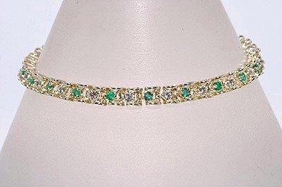 EMERALD BRACELET  Ladies  1.00  Carat  Emerald & Diamond Setting,  Solid Yellow Gold  $ 352.50